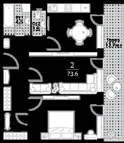 Апартаменты 2 комнаты, 73,6 кв.м