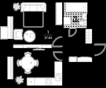 Апартаменты 1 комната, 37,84 кв.м