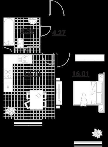 Апартаменты 1 комната, 38,48 кв.м