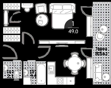 Апартаменты 1 комната, 49 кв.м