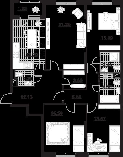 Апартаменты 4 комнаты, 113,9 кв.м