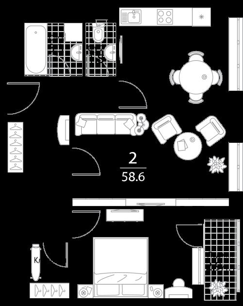 Квартира 2 комнаты, 58.6 кв.м