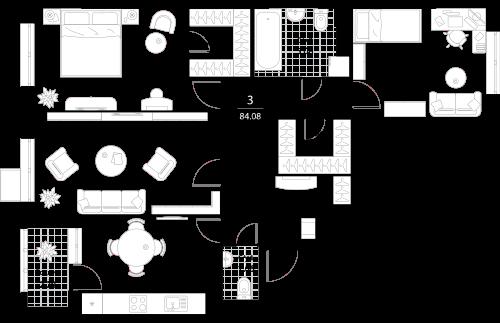 Апартаменты 3 комнаты, 84,08 кв.м