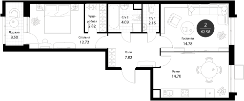 Апартаменты 2 комнаты, 62,58 кв.м