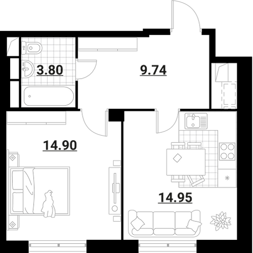 Апартаменты 1 комната, 43,39 кв.м