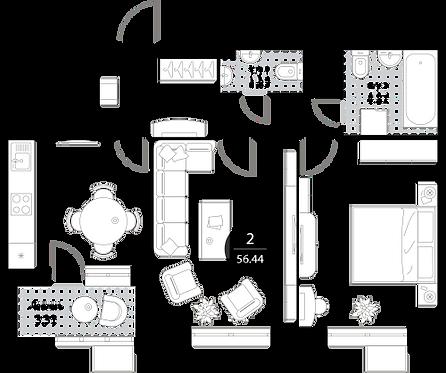 Апартаменты 2 комнаты, 56,44 кв.м
