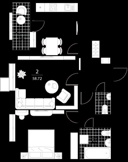 Апартаменты 2 комнаты, 58,72 кв.м