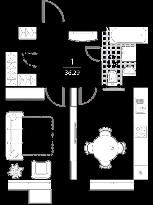 Апартаменты 1 комната, 36,29 кв.м