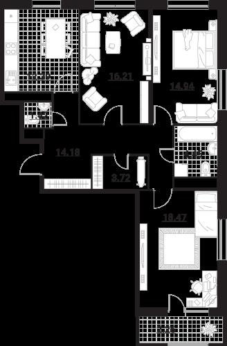 Квартира 3 комнаты, 88,04 кв.