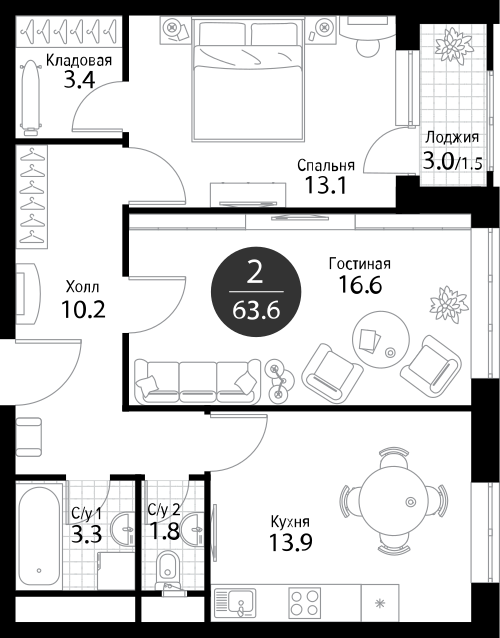 Квартира 2 комнаты, 63,8 кв.м
