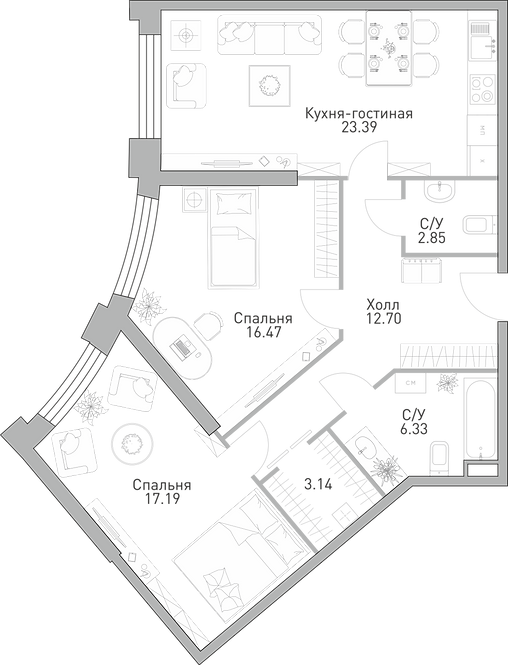 ЖК Крылья| 2-х комнатня квартира, 82,7 м
