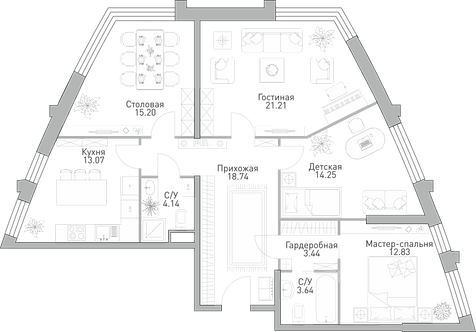ЖК Крылья| 4-х комнатня квартира 106,52 метра
