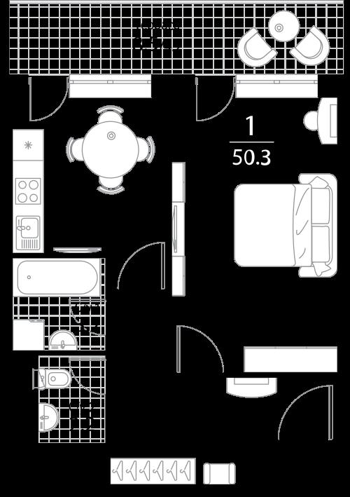 Апартаменты 1 комната, 50.3 кв.м