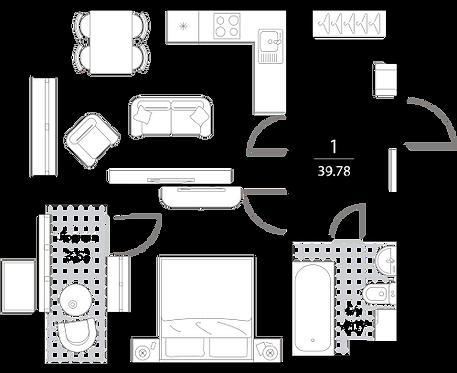 Апартаменты 1 комната, 39,78 кв.м