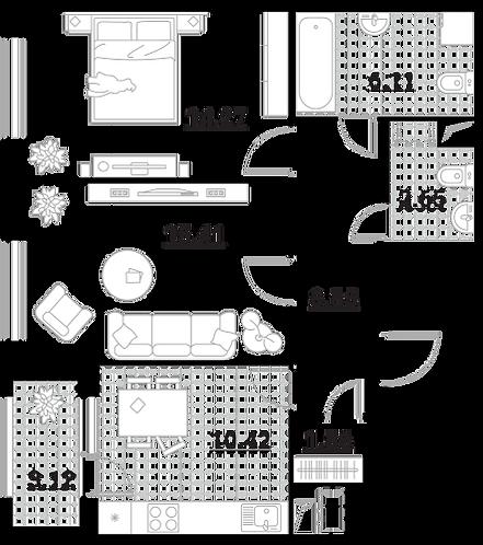 Апартаменты 2 комнаты, 62,09 кв.м