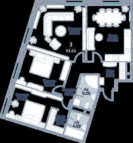 Апартаменты 3 комнаты, 93,03 кв.м