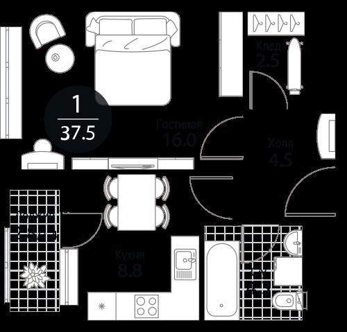 Квартира 1 комната, 37.5 кв.м