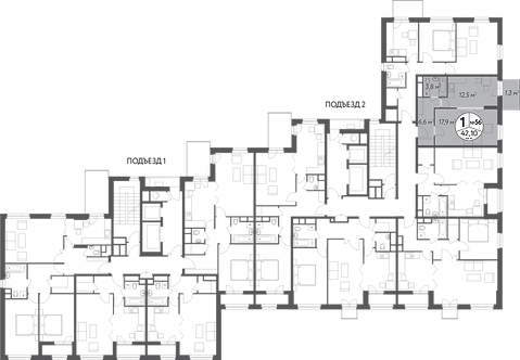 СЧ в Кусково| Квартира 1 комната, 42,1 кв.м