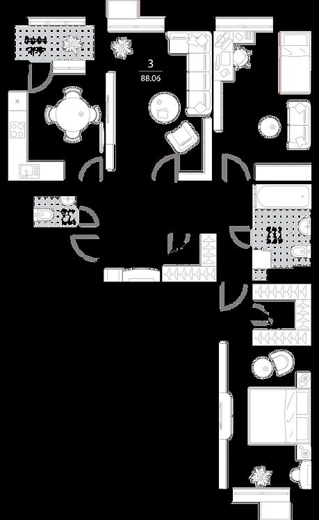 Апартаменты 3 комнаты, 88,23 кв.м