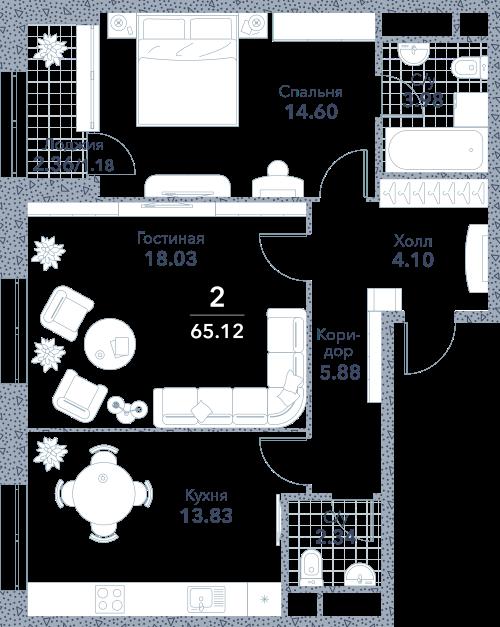 Апартаменты 2 комнаты, 65,12 кв.м