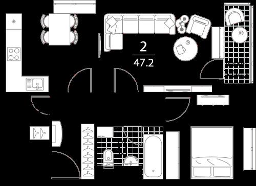 Квартира 2 комнаты, 47.2 кв.м