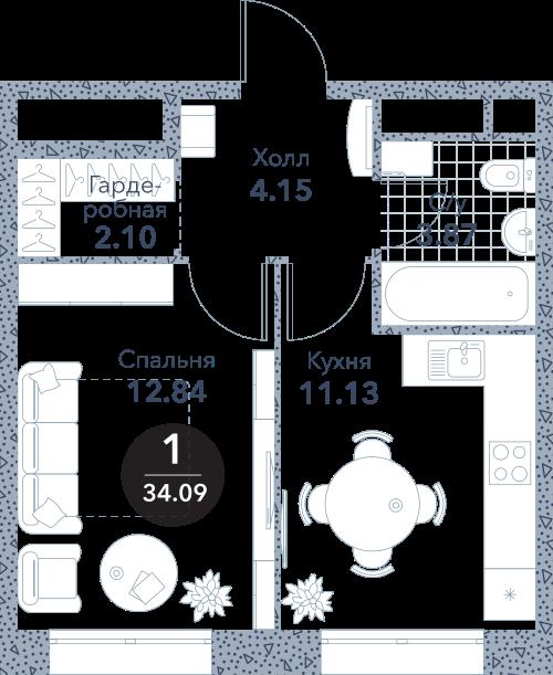 Апартаменты 1 комната, 34,09 кв.м