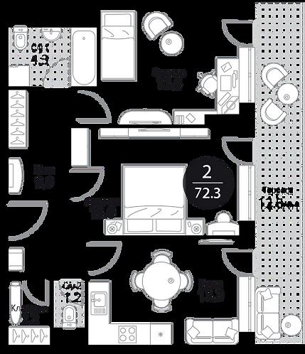 Апартаменты 2 комнаты, 73,2 кв.м