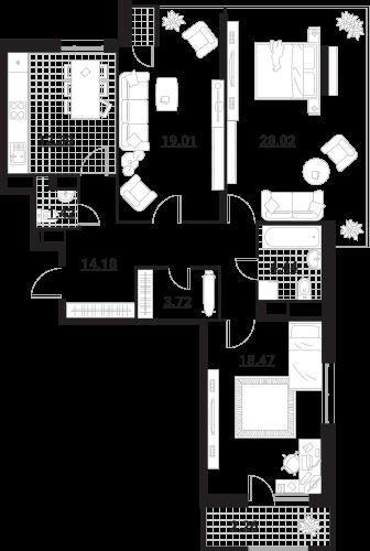 Квартира 3 комнаты, 103,91 кв.
