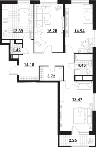 Квартира 3 комнаты, 88,11 кв.