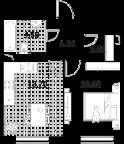 Апартаменты 1 комната, 38,84 кв.м