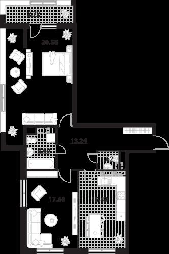 Квартира 2 комнаты, 85,93 кв.м