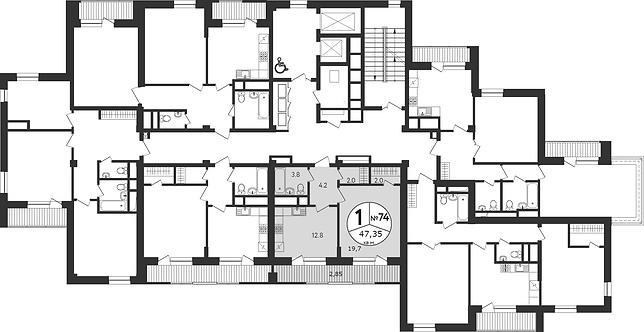 СЧ на Соколе| Квартира 1-комната, 47.35 кв.м