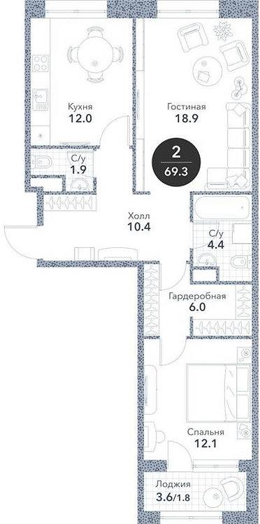 Квартира 2-комнаты, 69,3 кв.м