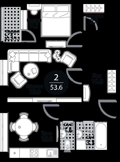 Квартира 2 комнаты, 53,6 кв.м