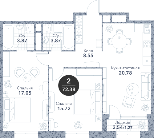 Апартаменты 2 комнаты, 72,38 кв.м