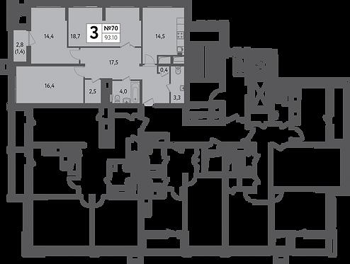 СЧ на Пресне| Квартира 3 комнаты, 93,1 кв.м