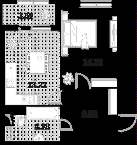 Апартаменты 1 комната, 46,33 кв.м