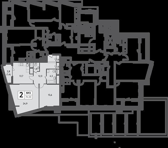 СЧ на Пресне| Квартира 2 комнаты, 74,33 кв.м