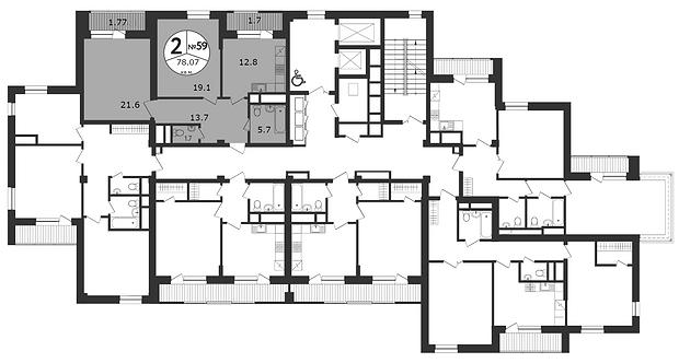 СЧ на Соколе| Квартира 2-комнаты, 75.5 кв.м