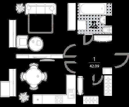 Апартаменты 1 комната, 42,09 кв.м
