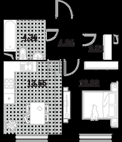 Апартаменты 1 комната, 38,56 кв.м