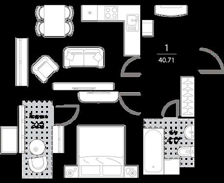 Апартаменты 1 комната, 40,71 кв.м