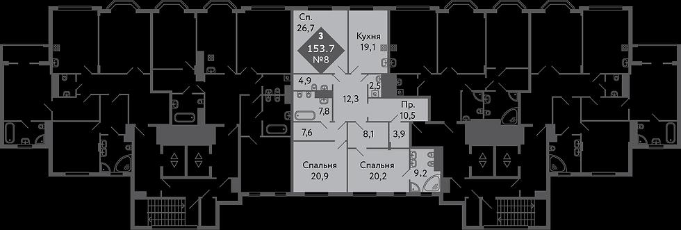 Резиденция на Всеволожском| Квартира 3 комнаты, 153,7 кв.м