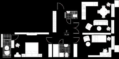 Апартаменты 2 комнаты, 75,29 кв.м