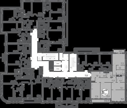 Резиденция на Покровском| Апартаменты 3 комнаты, 141,5 кв.м