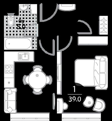 Апартаменты 1 комната, 39 кв.м