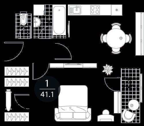 Квартира 1 комната, 41.1 кв.м