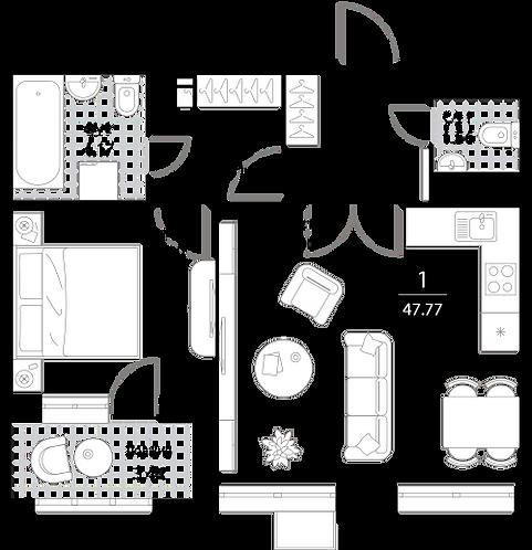 Апартаменты 1 комната, 47,77 кв.м
