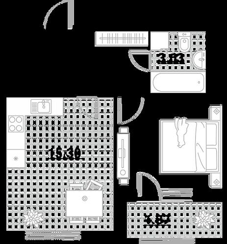 Квартира 1 комната, 37,97 кв.