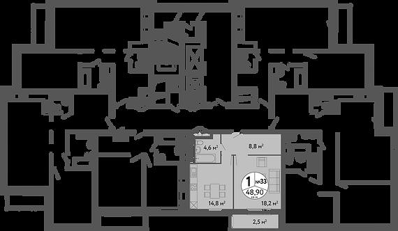 СЧ на Ленинском| Квартира 1 комната, 48,9 кв.м